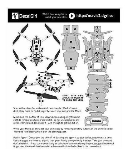 kit de calcomanías de camuflaje acu para dji mavic 2 / zoom
