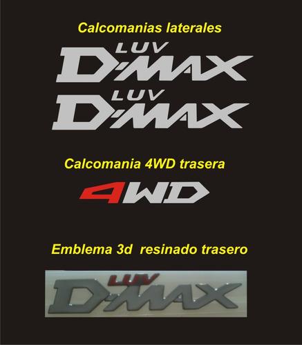 kit de calcomanias y emblema  para chevrolet luv d-max