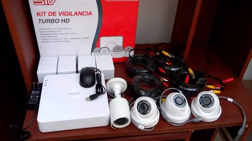 kit de camaras de seguridad hd stv hikvision todo incluido