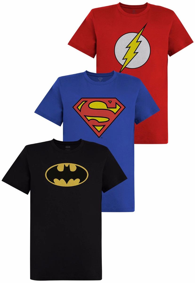 ca9700c6b kit de camisetas batman flash superman logo oficial. Carregando zoom.