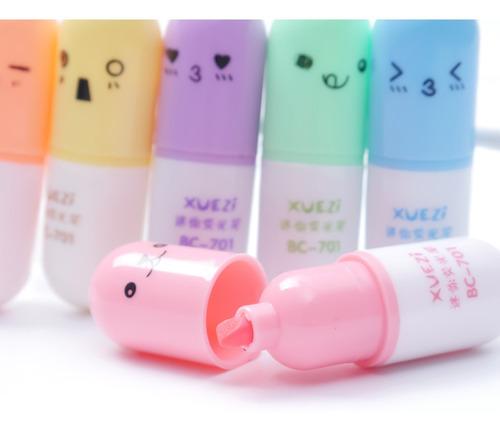 kit de canetas marca texto coloridas cápsula