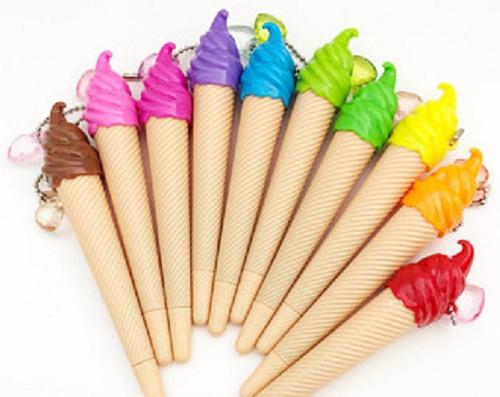 kit de canetas sorvete esferográfica brinde festa escola ice