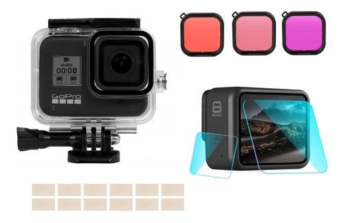 kit de carcasa sumergible gopro 5 6 7 8 black filtro colores
