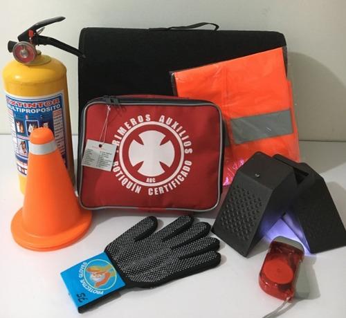 kit de carretera en alfombra + chaleco + linterna + guantes