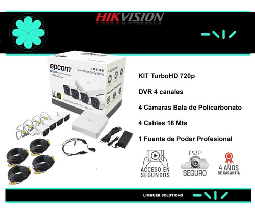 kit de cctv marca epcom de 4 camaras 720p 1.3 mp
