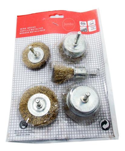 kit de cepillos bronceados p/taladro 5 piezas