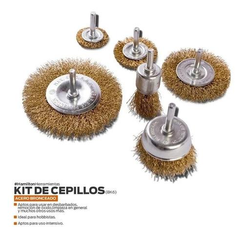 kit de cepillos para taladro hamilton bk6 x 6 unidades
