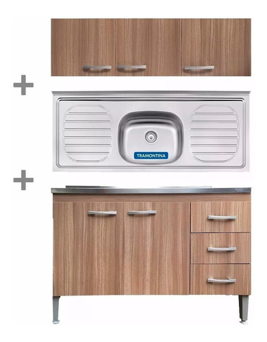 kit de cocina bajo mesada + pileta + aereo acero inoxidable