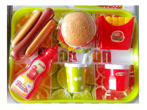 kit de comprinha fast food kids com liquidificador frutas