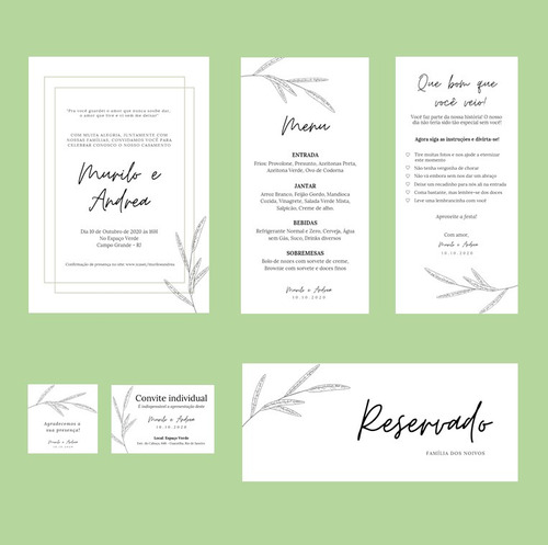 kit de convite de casamento minimalista (arte digital)