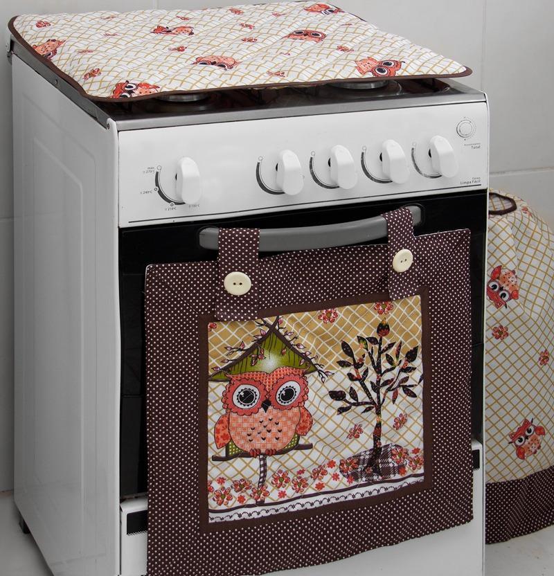 3220aeb9f Kit De Cozinha 6 Peças C  2 Cortina De Pia - Corujinha - R  108