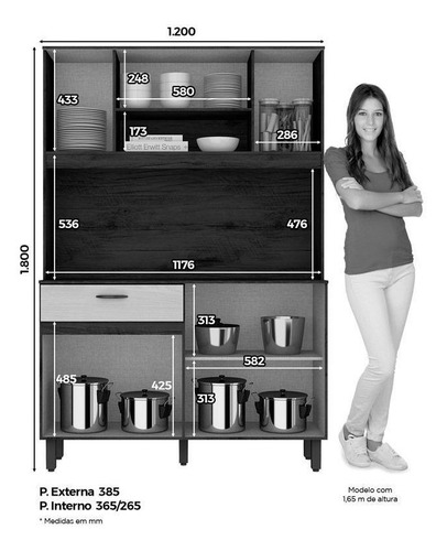 kit de cozinha henn briz b114 s c/tampo rúst/cristal