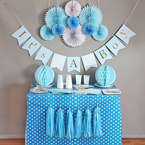 Kit De Decoracion De Baby Shower Para Nino Estandarte Pap - Decoracion-baby-shower