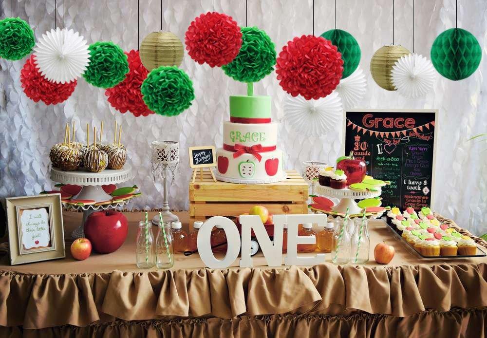 Kit De Decoraciones Para Fiestas Cumpleaños Verde Rojo Bl