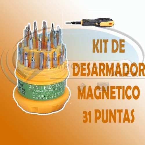kit de desarmador magnetico con 31 puntas intercambiables