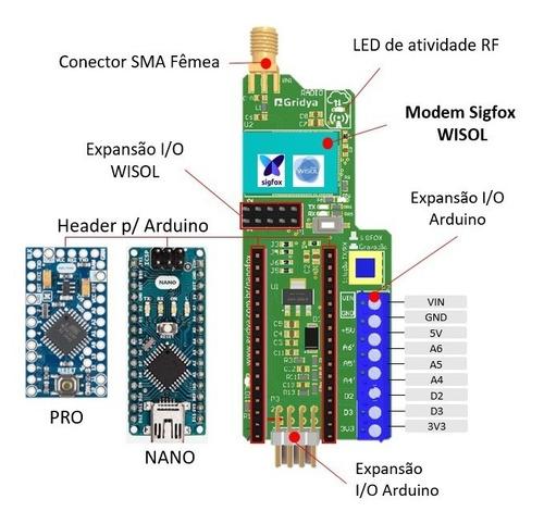 kit de desenvolvimento sigfox nanofox iot com arduino