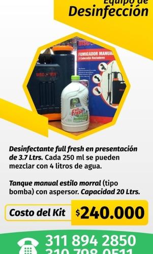 kit de desinfección y certificación
