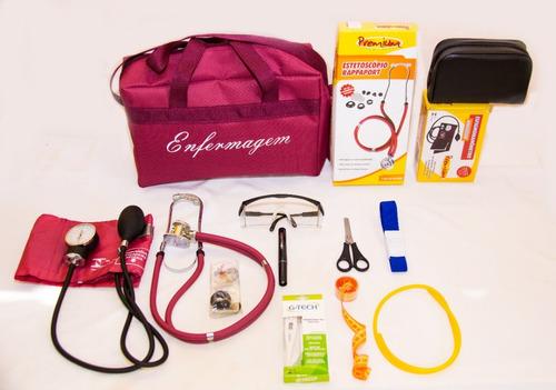kit de enfermagem vinho premium com esfigmo e esteto