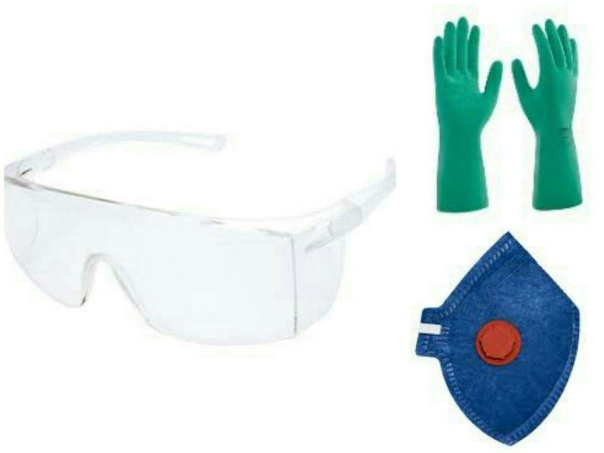 744443c182b10 Kit De Epi Proteção Quimica, Mascara Óculos E Luva Nitrilica - R  23,00 em Mercado  Livre