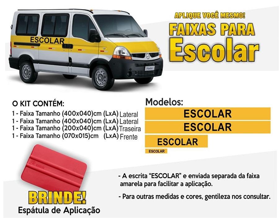 f6ccf7392 Kit De Faixas Para Van Escolar - Faixa Amarela Escolar - R  262