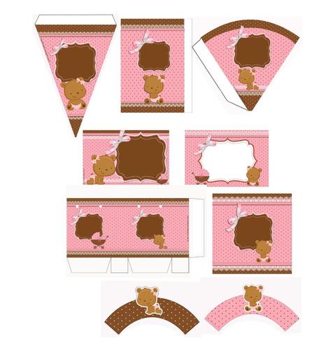 kit de fiesta oso niña baby shower imprimible