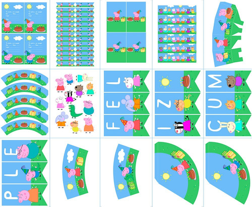 kit de fiesta pepa pig imprimible digital unisex