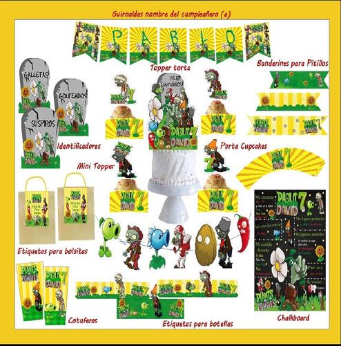 kit de fiestatemática: planta vs zombies