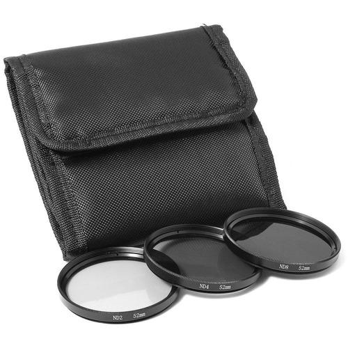 kit de filtro nd2 + nd4 + nd8 + case 52mm canon nikon sony