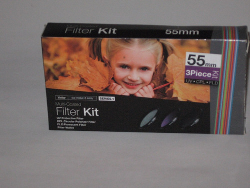 kit de filtros 55 mm vivitar 3 piece uv, cpl, fld filter kit