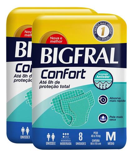 kit de fraldas adultas bigfral confort m - 16 unidades