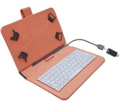 kit de funda 7 pulgadas con teclado y lápiz digital naranja