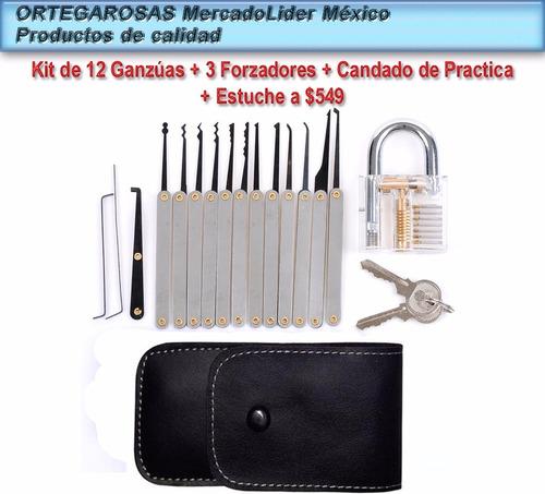kit de ganzuas profesionales 15 piezas + candado + manuales