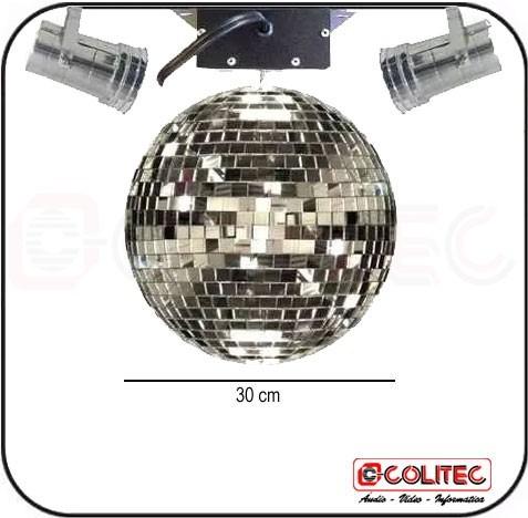kit de globo espelhado 30cm + 2 canhão lamp bimbim + motor