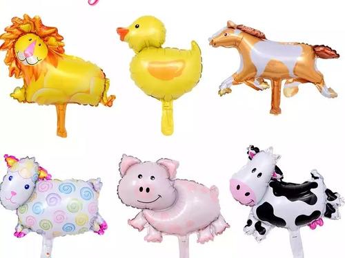 kit de globos de granja zenon  6 piezas  numero gigante!!
