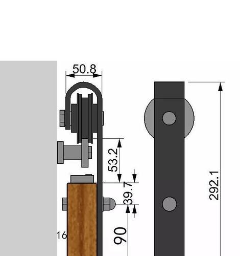 kit de herrajes para puerta corredera 2 mts
