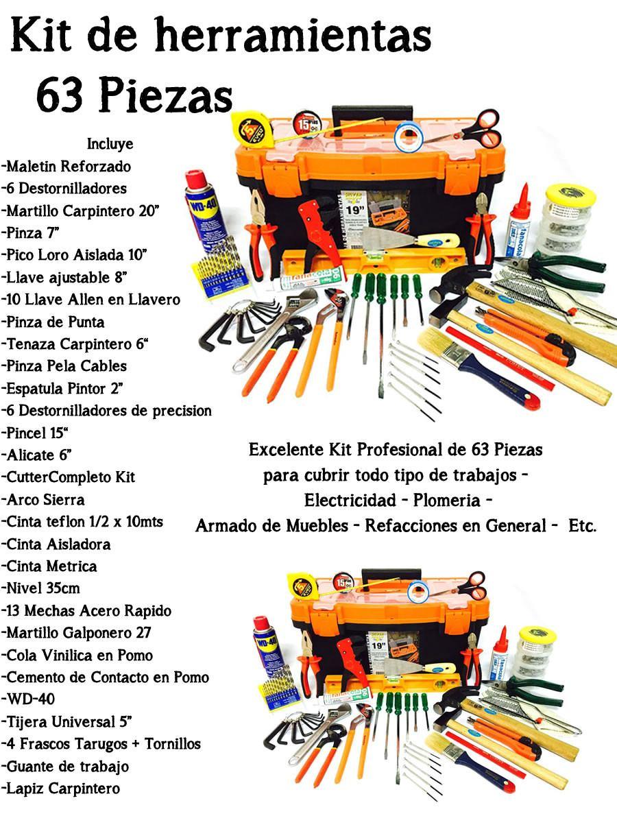 Kit De Herramientas 63 Piezas Con Maletin Oferta 2 150 00 En  ~ Herramientas Pintor Profesional