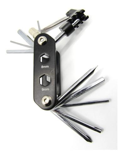 kit de herramientas bicicleta corta cadena inflador parches