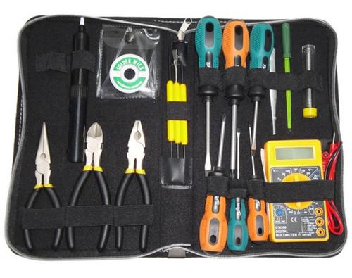 kit de herramientas electronica multimetro tester pinzas