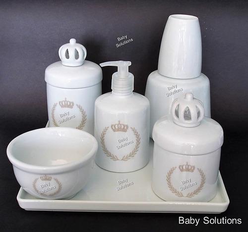 kit de higiene bebê coroa azul e brasão porcelana branca