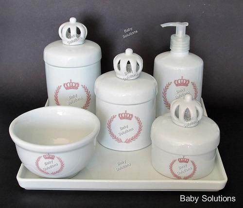 kit de higiene bebê - coroa bege brasão - porcelana branca