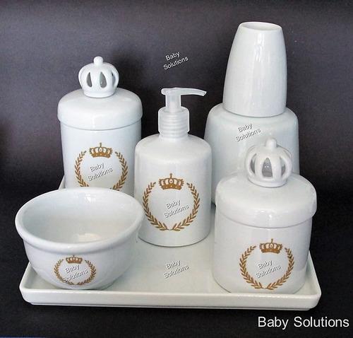 kit de higiene bebê - coroa dourada brasão- porcelana branca