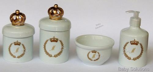 kit de higiene bebe c/ inicial do nome coroa porcelana 4 pçs