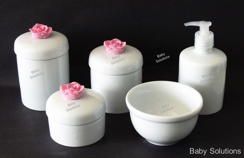 kit de higiene para bebê rosa 5 peças porcelana