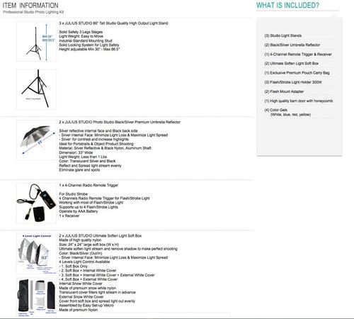 kit de iluminación strobe 900w-3x300w fotografía flash luz