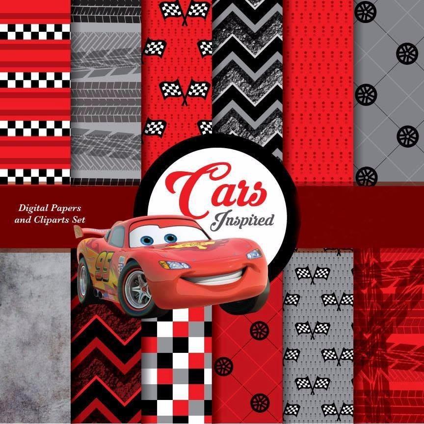 Kit De Imágenes Cars Inspired 9 Clipart 12 Fondos Ver Promo 42