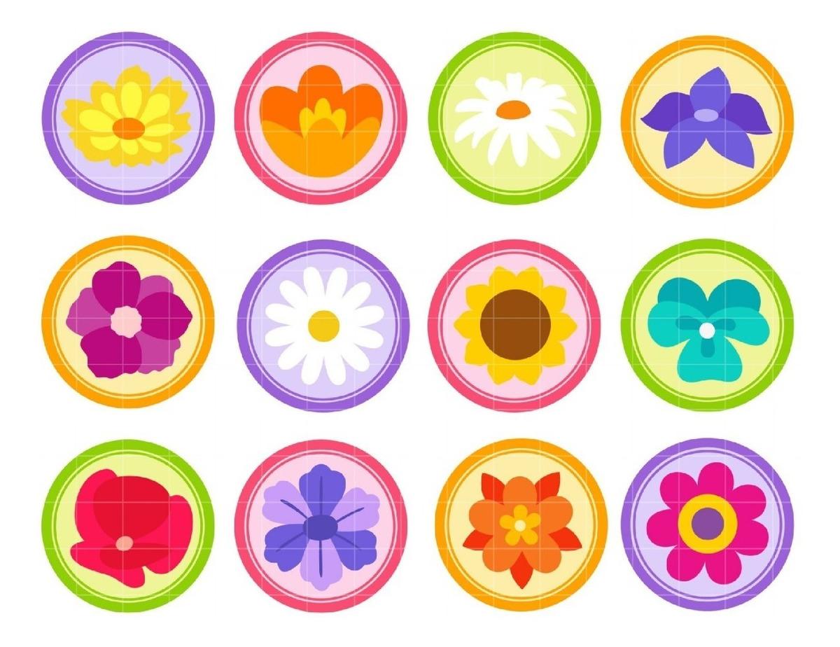 Kit De Imágenes Digitales Etiquetas Redondas Flores Tags