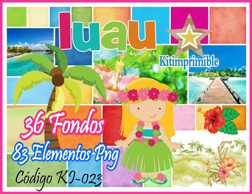 kit de imagenes digitales + fondos fiesta luau hawaii ki-023