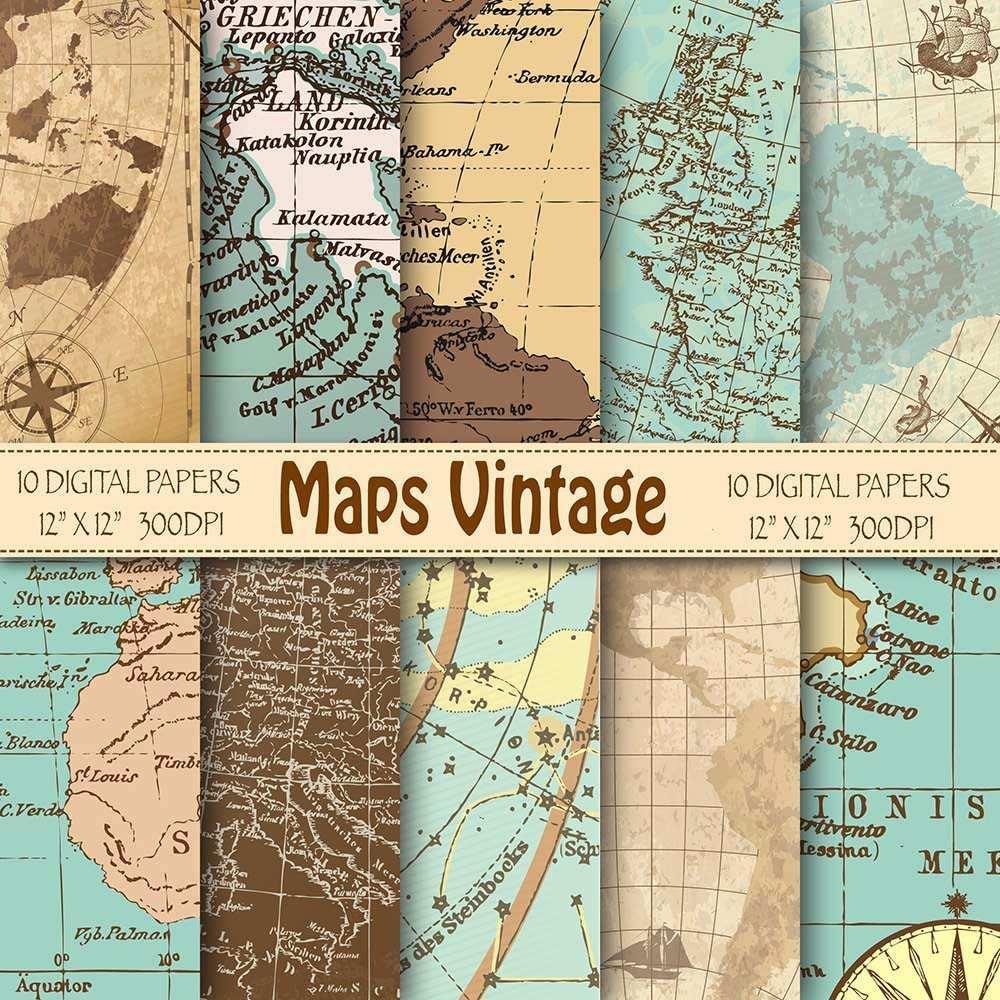 Kit De Imagenes Mapas Vintage 10 Fondos Ver Promo 2800 En - Vintage-imagenes