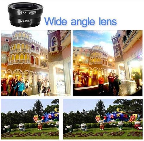 kit de lentes - 3 en 1 (ojo de pez+ macro + wide angle)