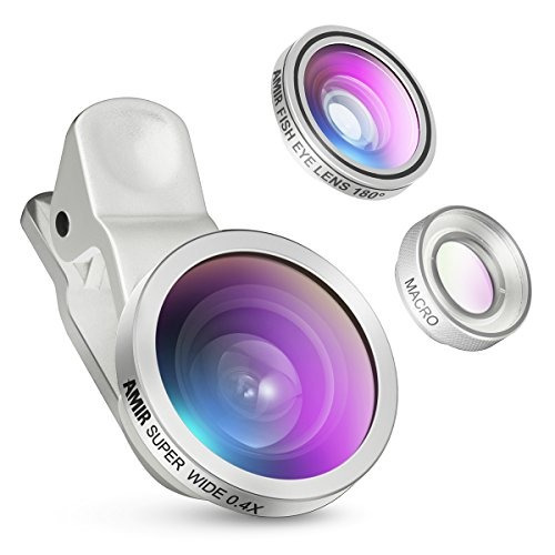 kit de lentes de cámara amir 3 en 1 c/clip ojo de pez macro